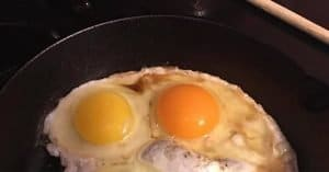 Eggs in a pan being cooked